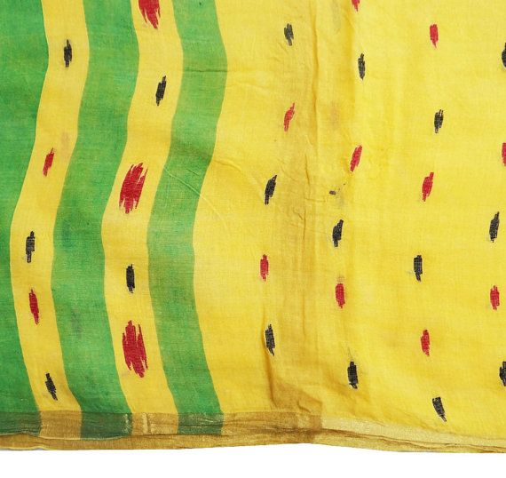 SALE Vintage Pure Cotton Sari Thread Work Yellow by queensclub, $16.99