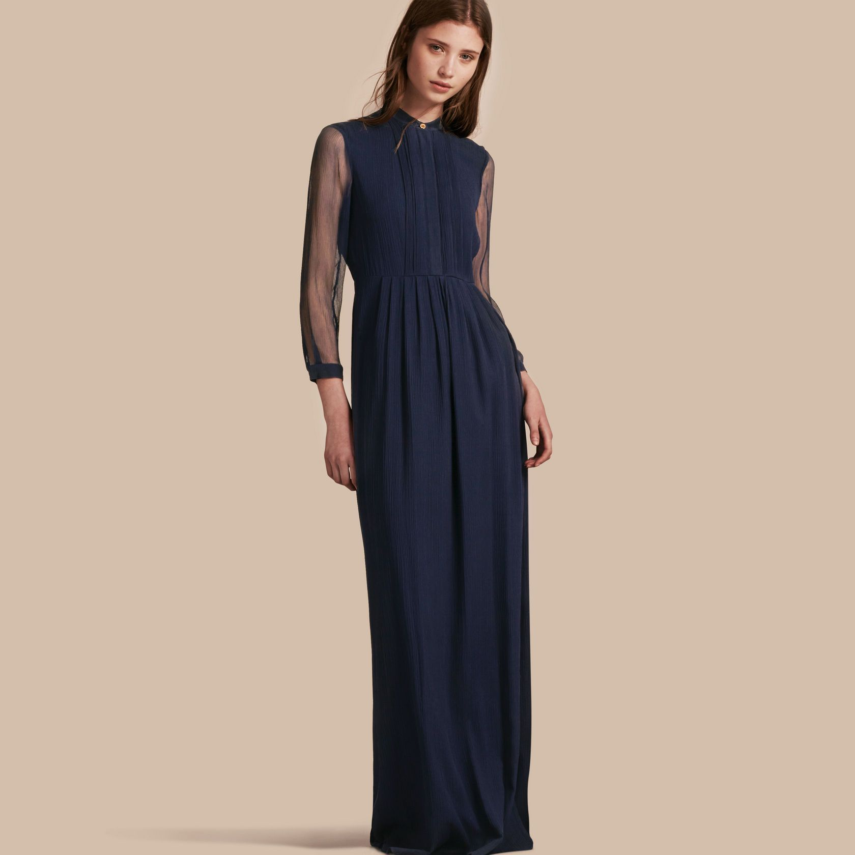 Pleat detail floorlength silk dress burberry fashion woman