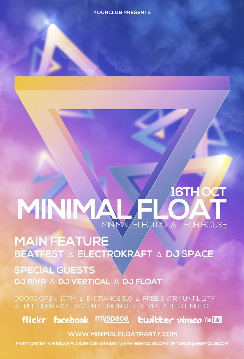 Minimal Float Electro Club PSD Flyer Template | Free Download Design ...