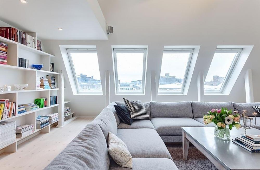 Attic Room Design Ideas Part - 24: Attic Decorating | Attic Living Room With 4 Window New Apartment Attic  Decor Design Ideas .