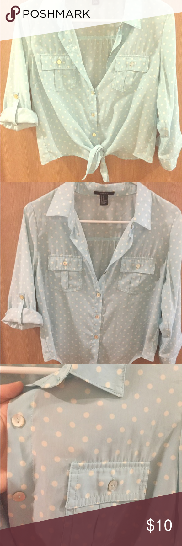 Forever 21 - CUTE, cropped, light-weight top! Super cute, cropped, quarter sleeve top. Used but in good condition! Light weight material good for sunny weather ☀️☀️ sleeves roll up and button (as shown in pictures). Light blue with polka dots. Forever 21 Tops Blouses