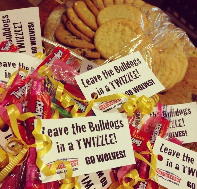 Pep Rally Candy Bags With Slogans I Made For My Sons Youth Football Team Football Team Snacks Football Treats Kids Football Snacks
