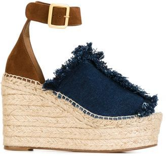Chloé 'Isa' denim wedge sandals #sandals #summer #heels