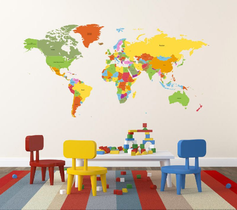 A Fun Colorful Playroom Calls For This World Map Wall Decal From - Kids world map wall decal