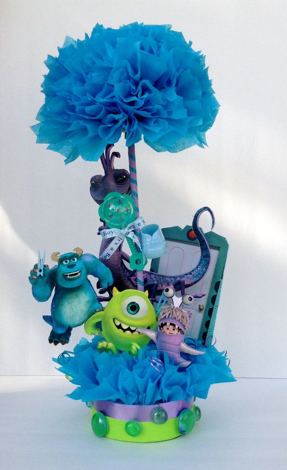 Monsters inc centerpiece baby shower centerpiece baby for Baby boy shower decoration kits