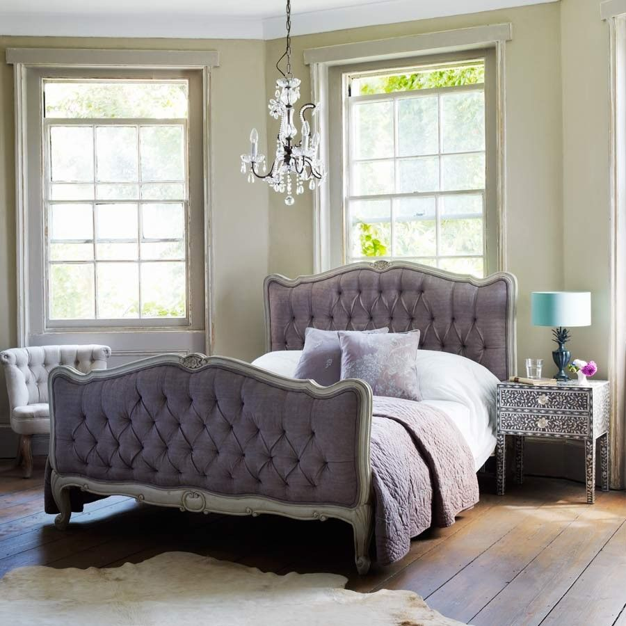 28 Ideas For Sitting Pretty At Your Head Table: The Esme Kingsize Bed With A Cotton Grey-lavender Buttoned