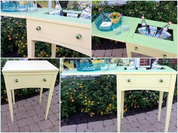 Sewing Table Bar Cart | Vintage Sewing Machine Table Turns Into Bar/serving  Table.