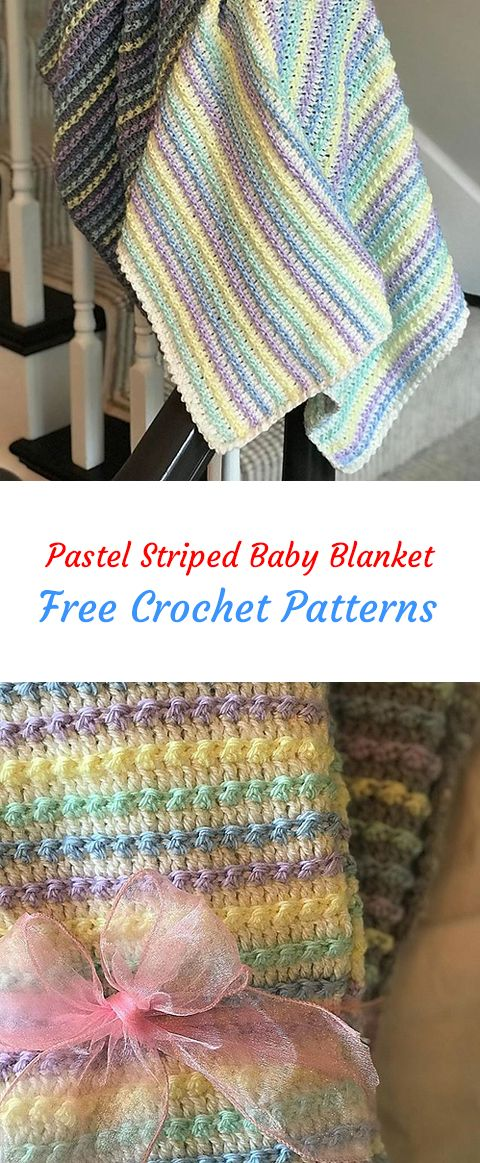 Pastel Striped Baby Blanket Free Crochet Pattern Crochet Yarn