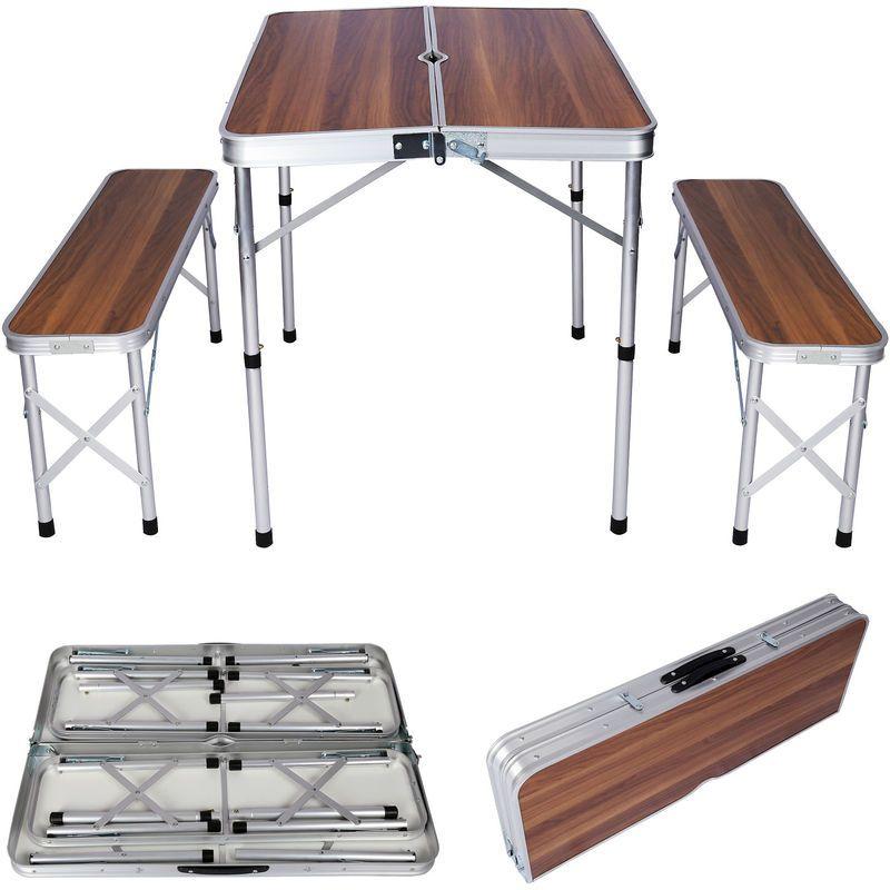 Table De Valise En Aluminium Avec Deux Bancs En Bois Design