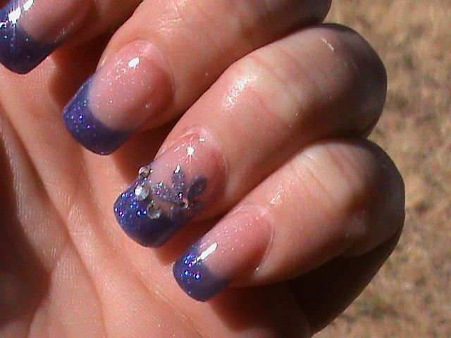 blue french with polish stones n a flower - blue french with polish stones n a flower.JPG