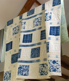 Love the Delft blue of this quilt! Adinkra Revisited - Shibori Patchwork Quilt. £375.00, via Etsy.