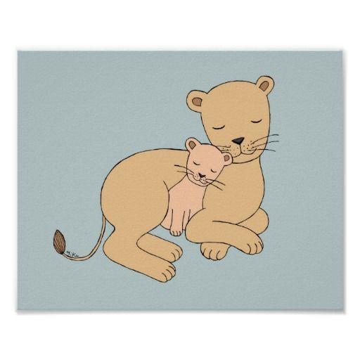 Lioness and cub Nursery Art Lion Nursery Decor