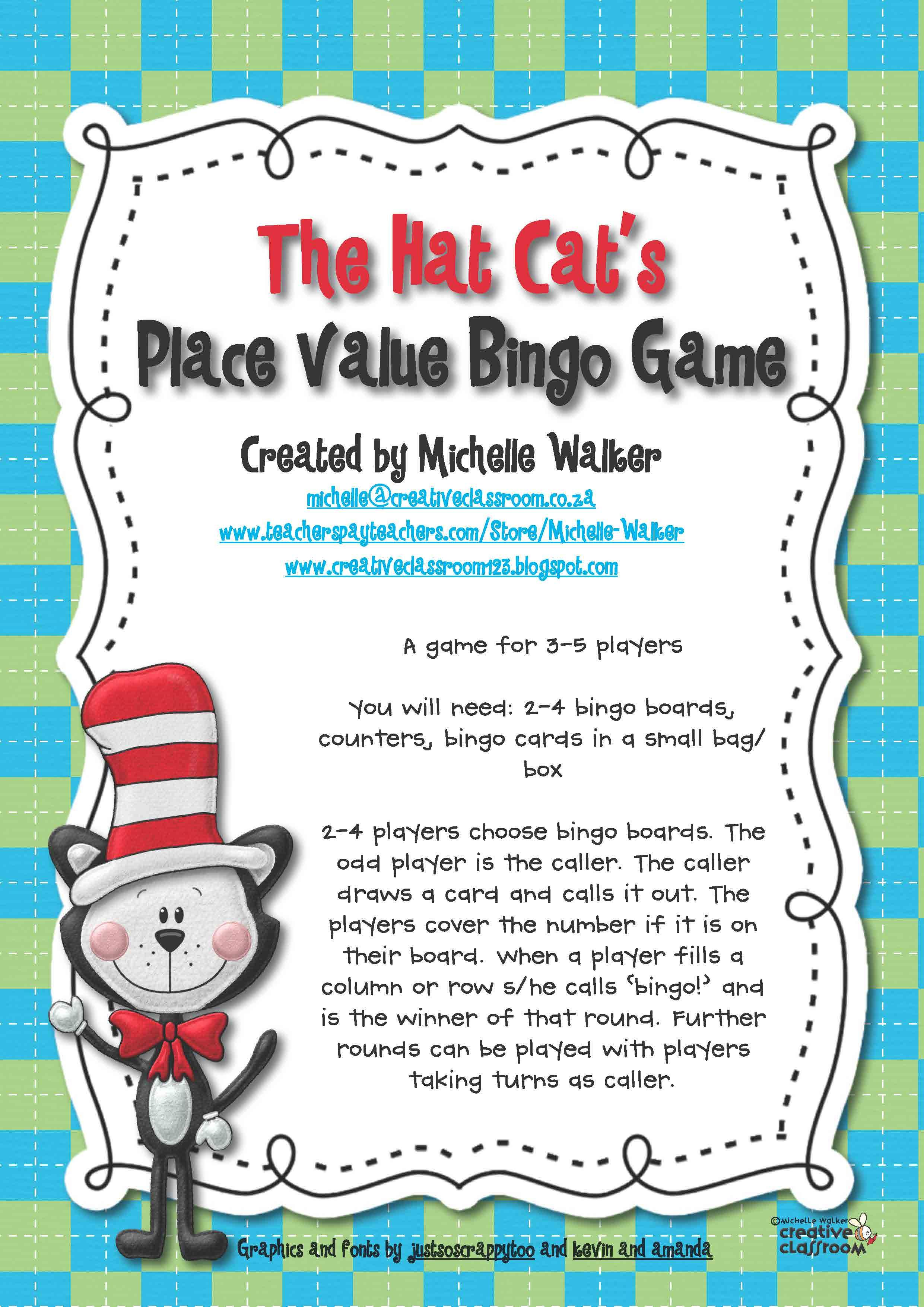 The Hat Cat S Place Value Bingo Game