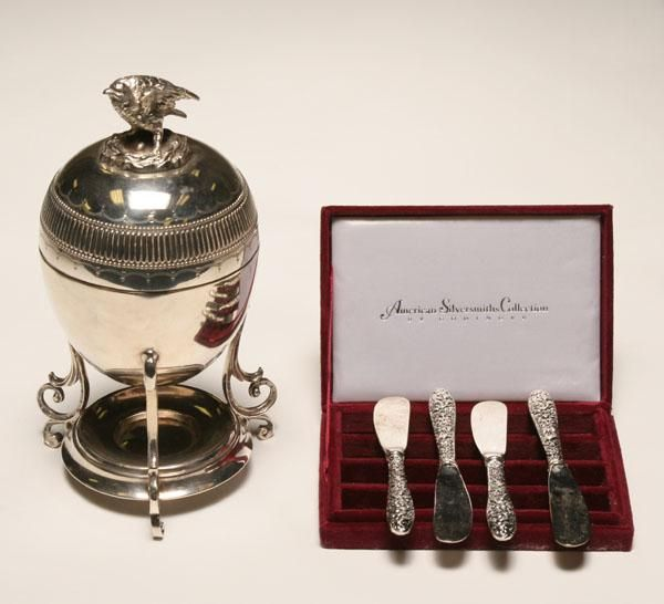 Victorian Silverplate Egg Coddler and a  Four Butter Knives Set.