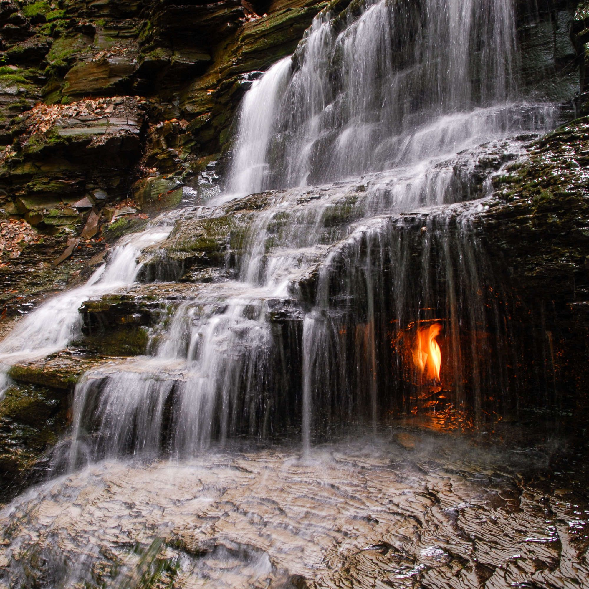 Hike to These Waterfalls Lit With an 'Eternal Flame' That (Almost) Never Goes Out #autumninnewyork