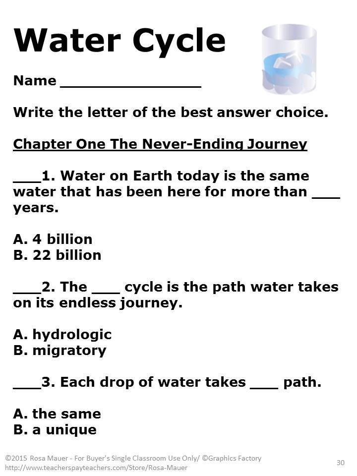 Printable Worksheets worksheets on the water cycle : The Water Cycle Task Cards and Worksheets | Multiple choice ...