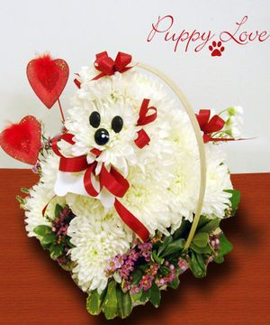 This Puppy Dog Shaped Floral Arrangement Is Easy To Care For And Features White Carnations Ribbo Birthday Flowers Arrangements Valentines Flowers Flower Gift