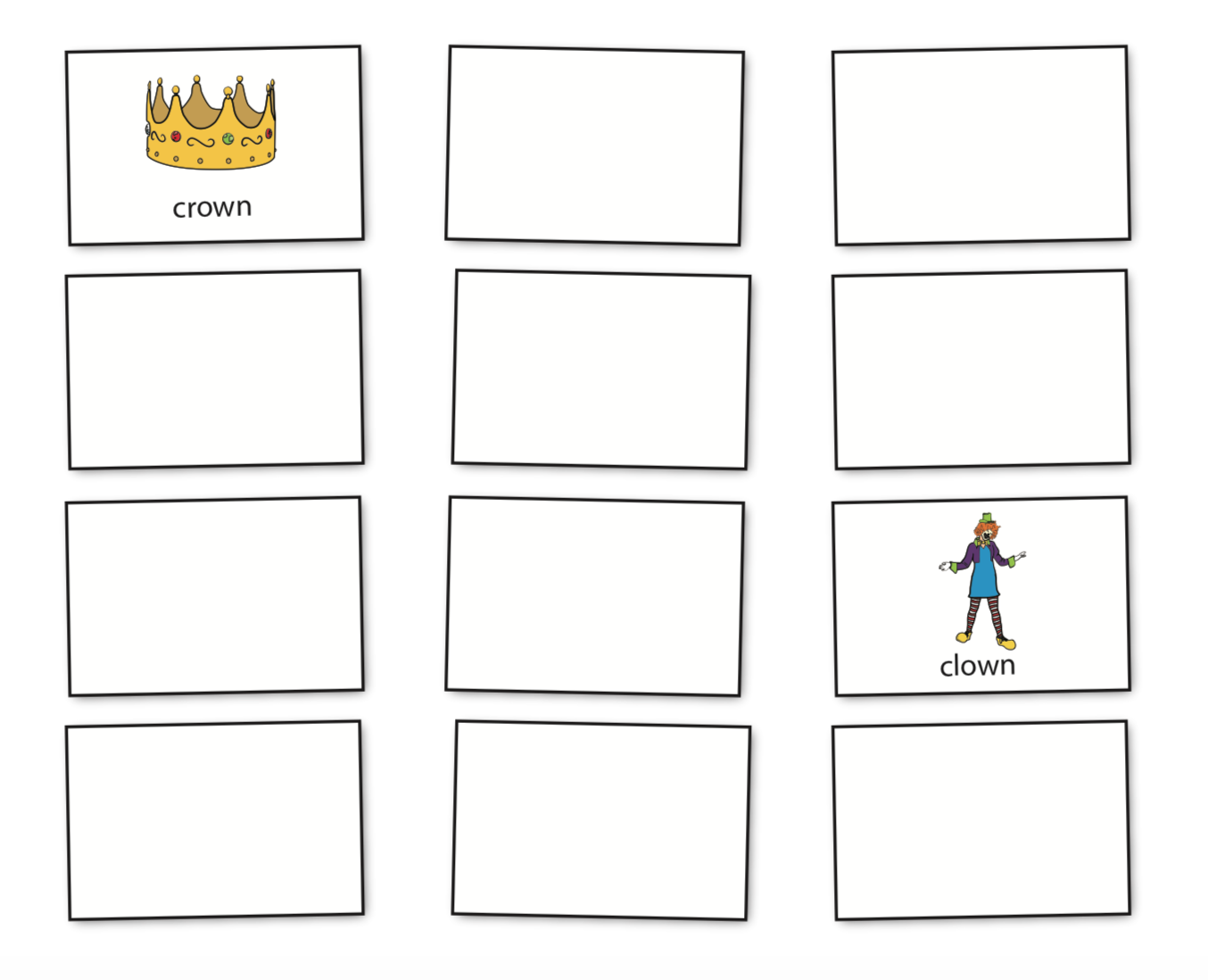 Rhyme Memory Match Free, downloadable cards for