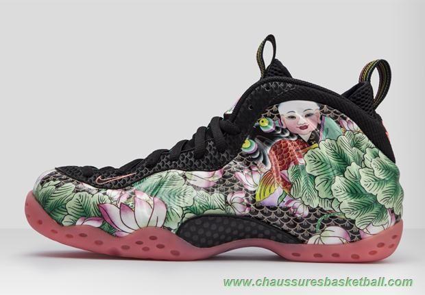 chaussures de basket ball Nike Air Foamposite One Tianjin Vert Rose Rouge Noir  744307-001 Hommes 2cc1946b33fc