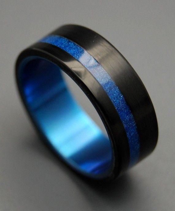 Titanium Ring Titanium Resin Wedding Band Blue Marbled Titanium Ring  Titanium Resin Wedding Band Blue Marbled