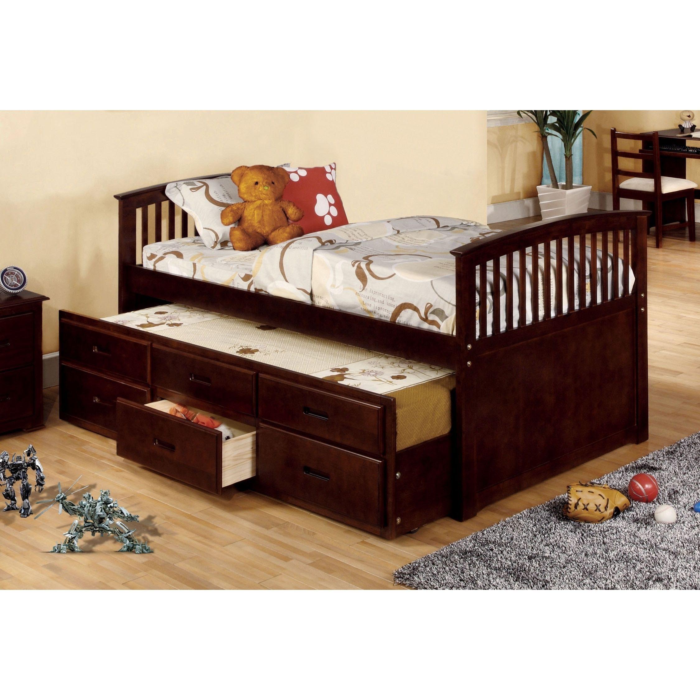 Loft captains bed twin  Furniture of America Bernadette Dark Walnut Mission Style Captain