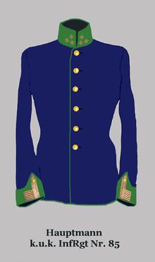 "Captain, k.u.k. 85th Infantry Regiment ""von Gaudernak"".  Hungarian regiment."