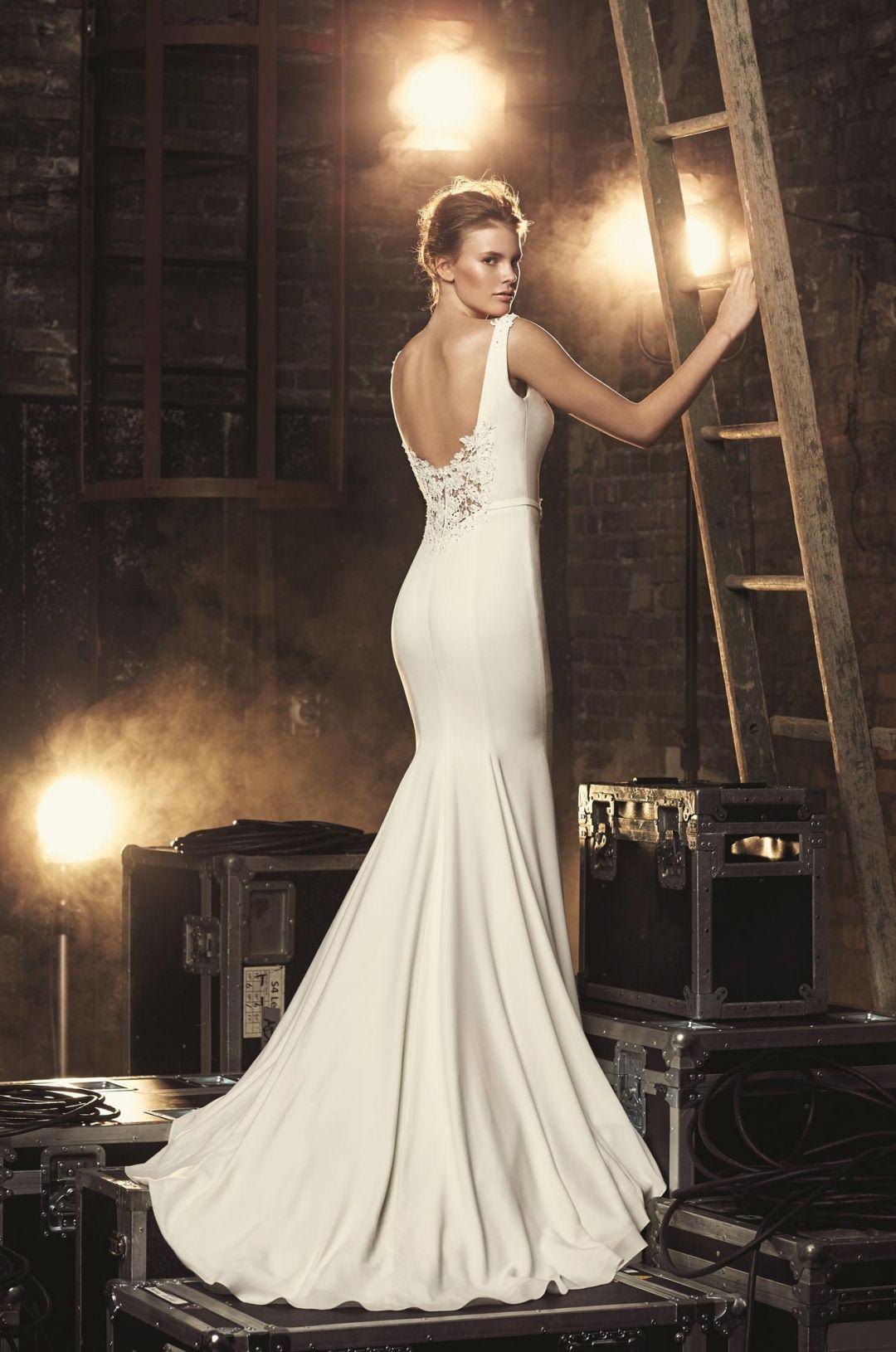 High neck crêpe wedding dress style mikaella bridal