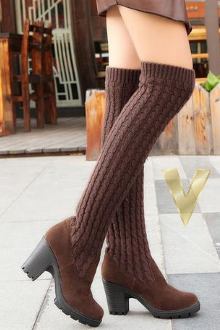 870d7dd29a9 Complete your closet this season with the must-have Knit Thigh High Boots  from Vinny s Digital Emporium! Our New Thick stretch knit creates a  sock-like feel ...