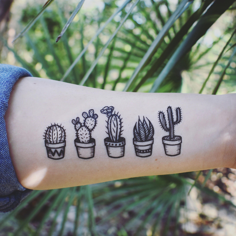 Tatuaje Cactus potted cactus temporary tattoos, succulent house plants, black line