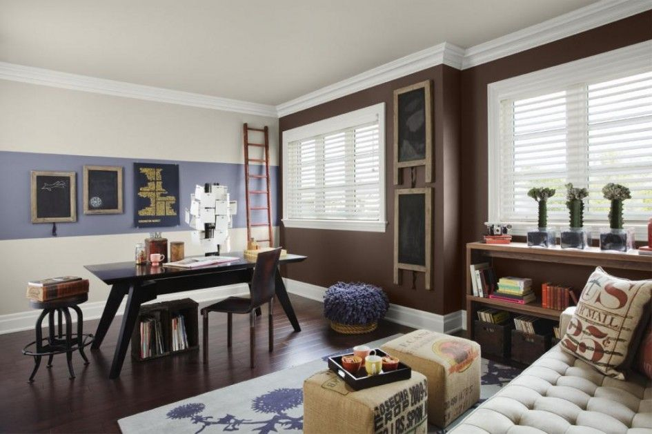 Interior Design Home Office Wall Rich Brown Color Trendy Accent Dawning An Amethyst Shadow