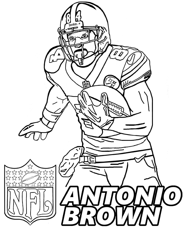 Antonio Brown Pittsburgh Steelers Footballer To Print Brown Antoniobrown Coloringpa Sports Coloring Pages Football Coloring Pages Football Players Images