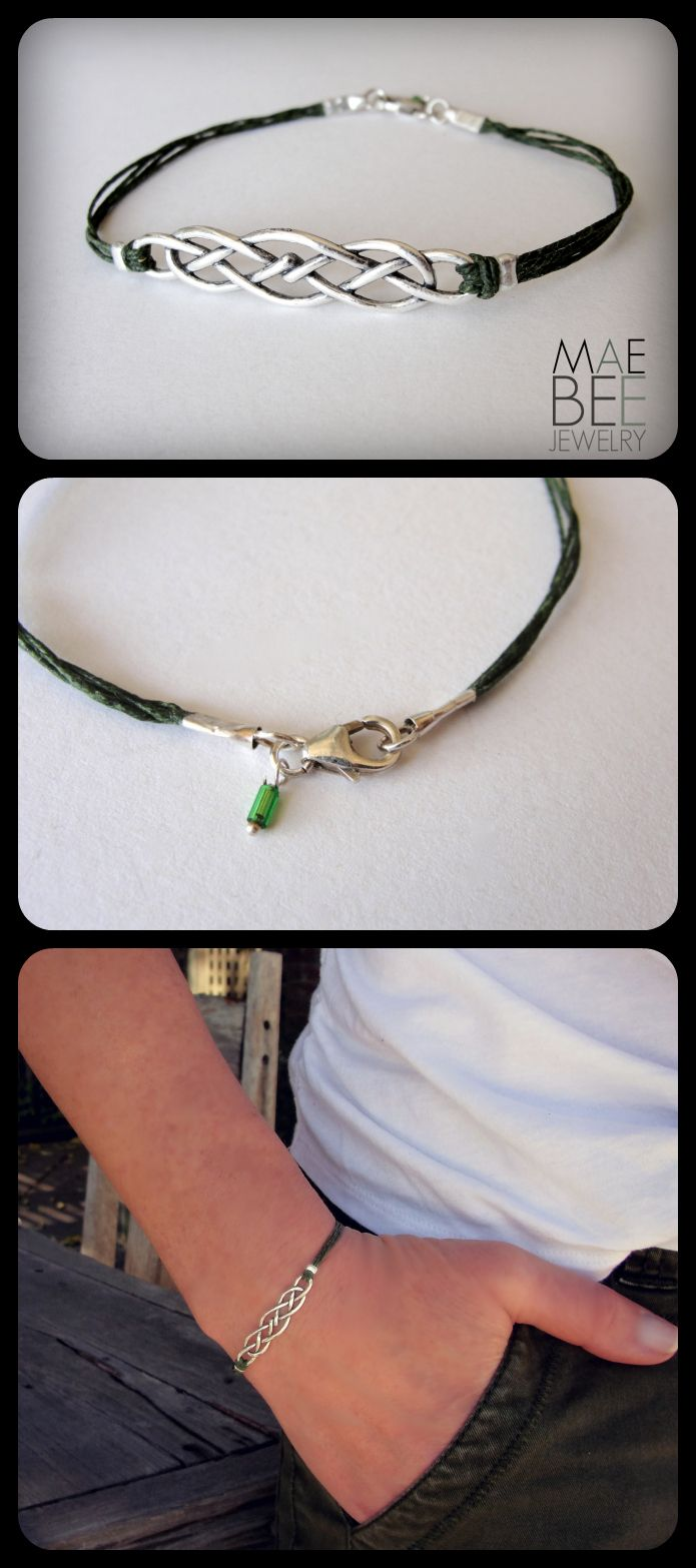 Sterling Silver #Celtic knot on green #irish linen from ...