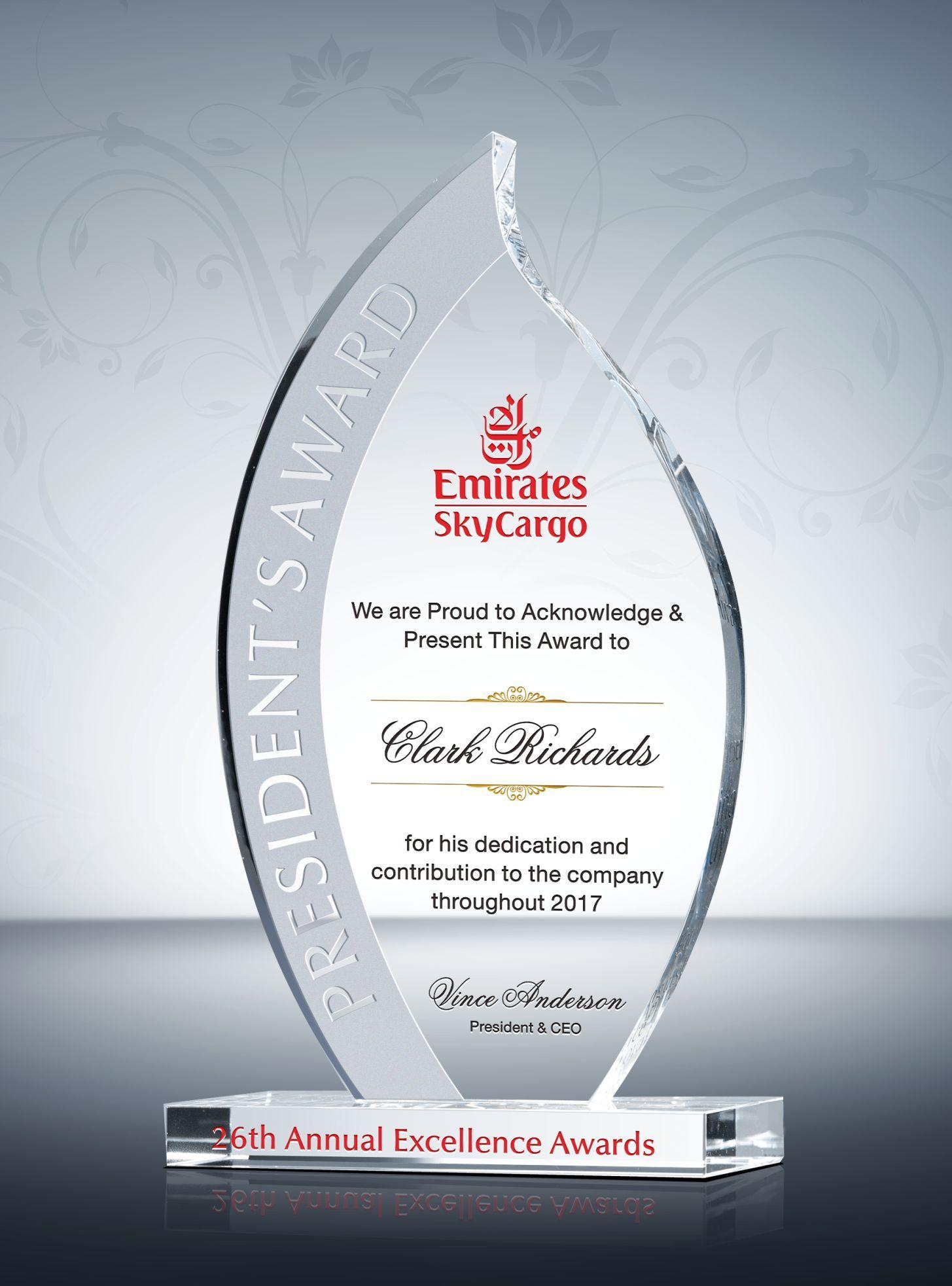 Flame President's Award Award plaques, Service awards