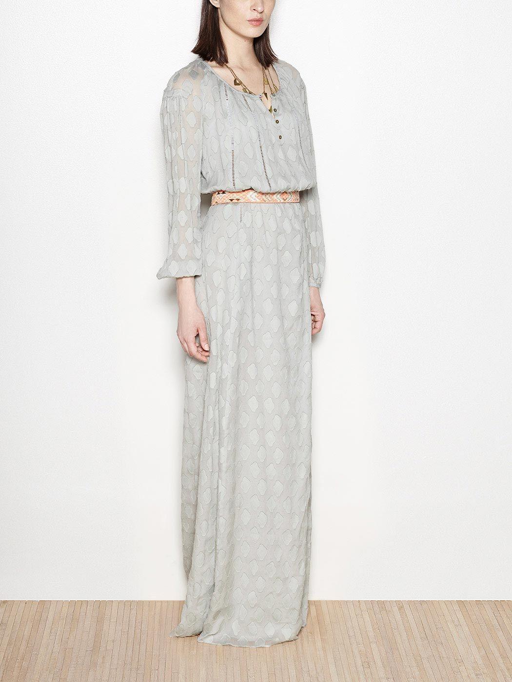 Hemstitches silk maxi dress | Hoss Intropia Portugal
