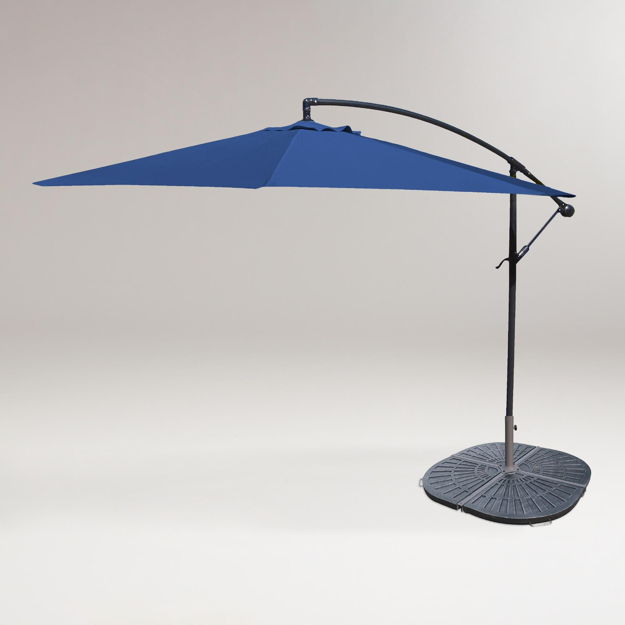 U royal cantilever umbrella and weight base world market deck