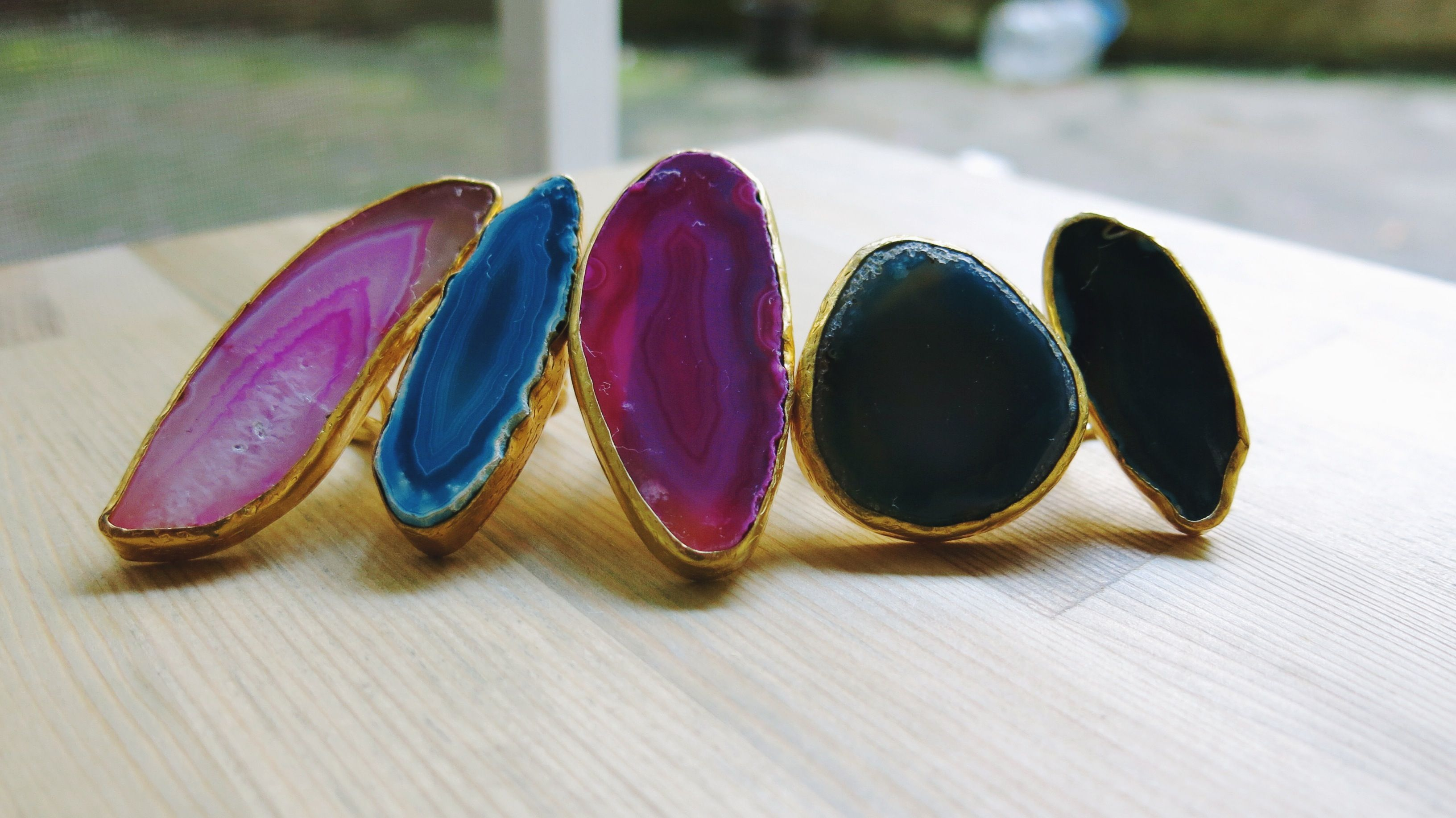 rose plated ring pear white rings agate index gold