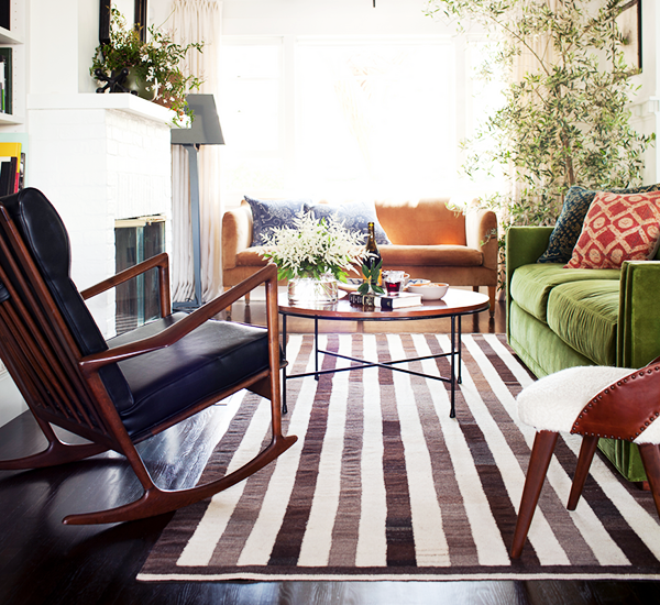 9 Must-Haves for a California Eclectic Home//stripe rug, Nickey Kehoe, green velvet sofa