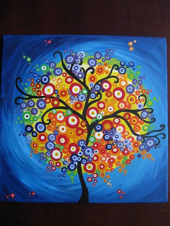 Painting Art Tree Of Life Circles Bright Colorful Happy Wall Gift Present Trees Original Colourful
