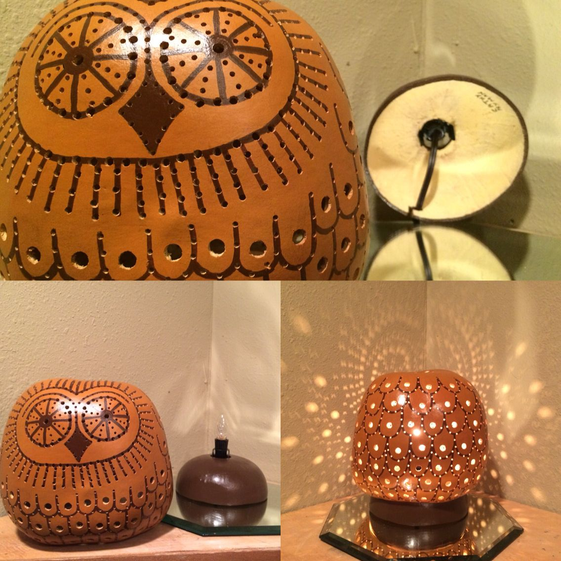 Gourd Lights My Mr Night Owl Gourd Lamp Is Painted A Warm Honey Brown The