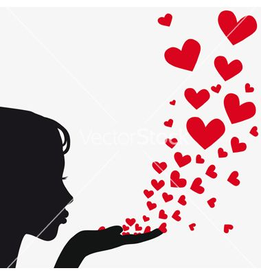 Silhouette woman blowing heart on VectorStock