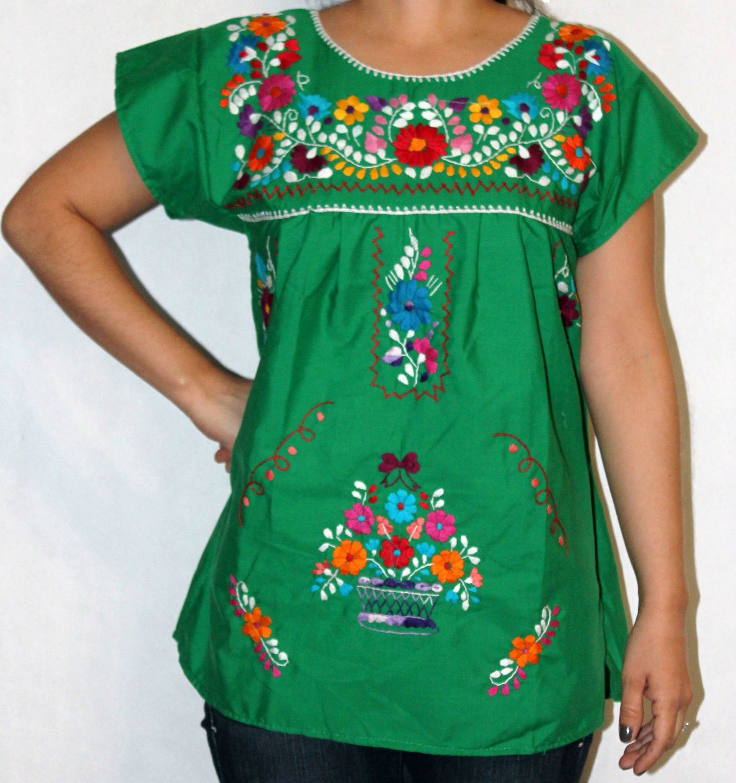 7e3b14407c8bb6 Assorted Colors Peasant Puebla Hand Embroidered Mexican Blouse XS s M L XL  XXL