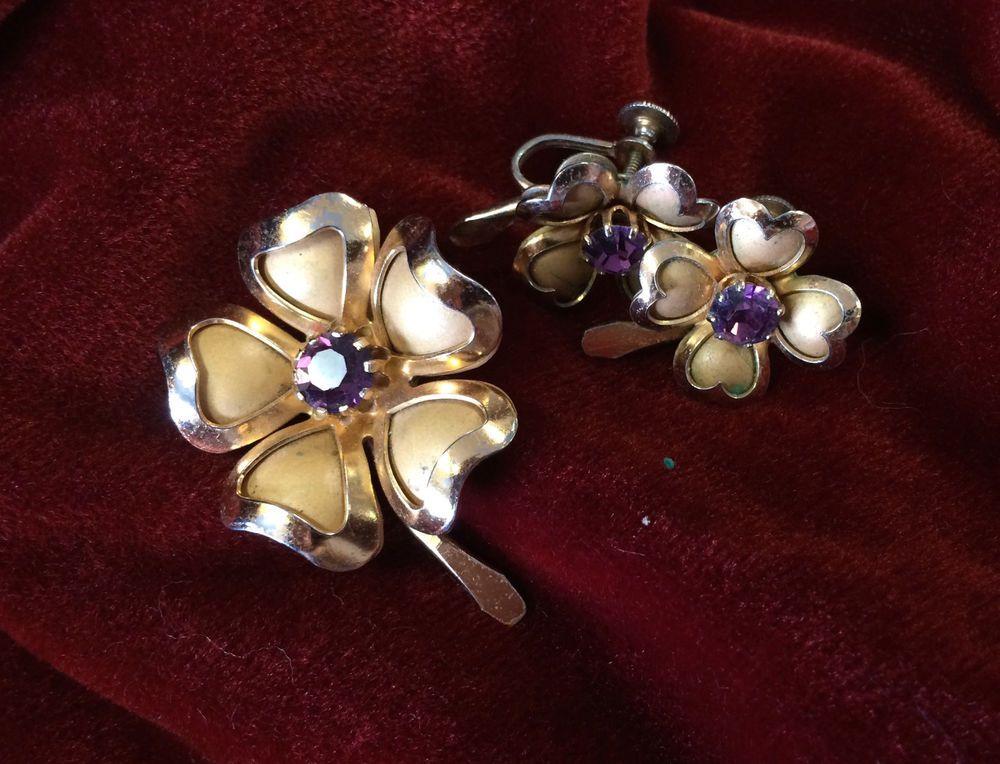 Vintage Signed Coro Brooch and Earrings Set Gold Tone Shamrock Purple Stone #Coro