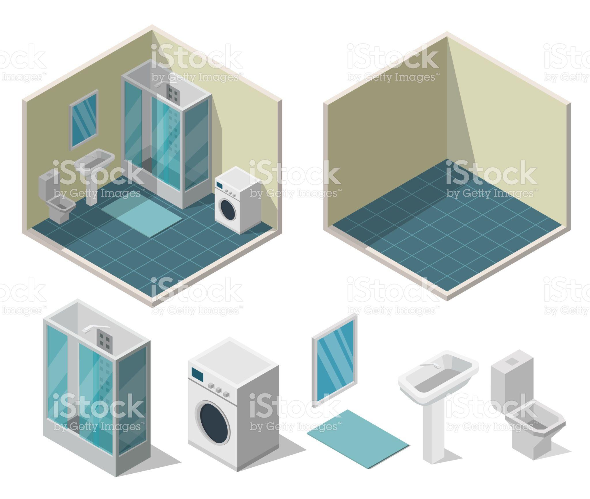 Bathroom Isometric Interior Vector Illustration Modern Of Flat ベクターイラスト 現代 ロイヤリティ