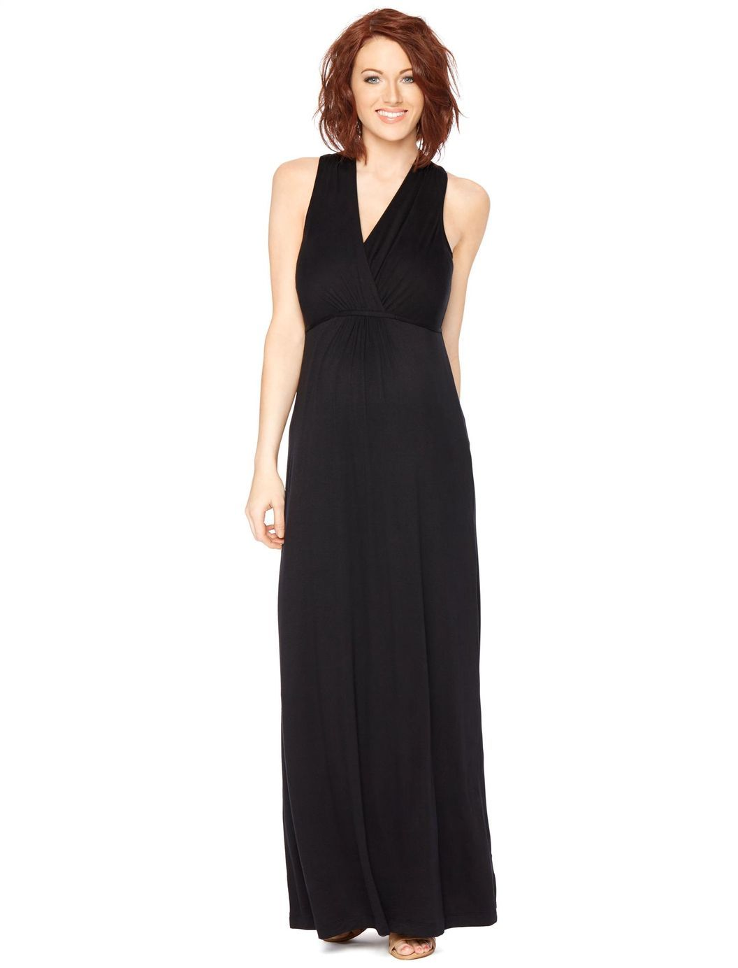 Surplice neckline maternity maxi dress black motherhood maternity