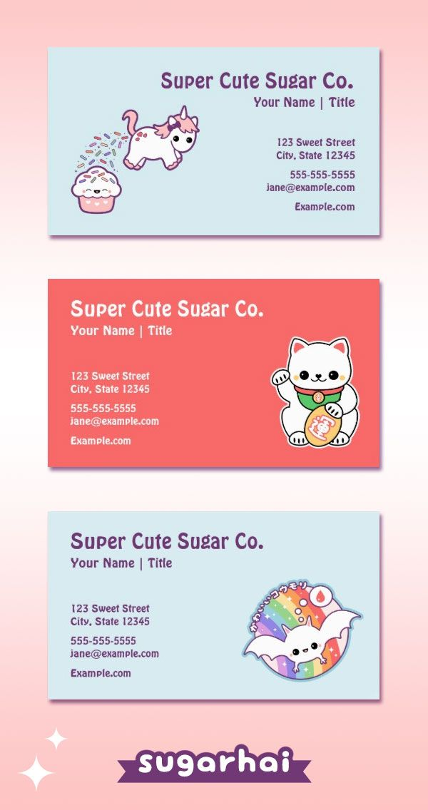 Kawaii business cards for your cute business. Personalize these ...