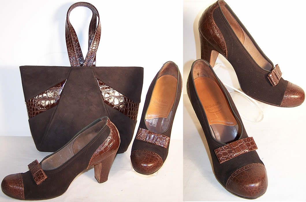 Vintage 1940's Brown Suede Alligator Shoes & Handbag Purse Set