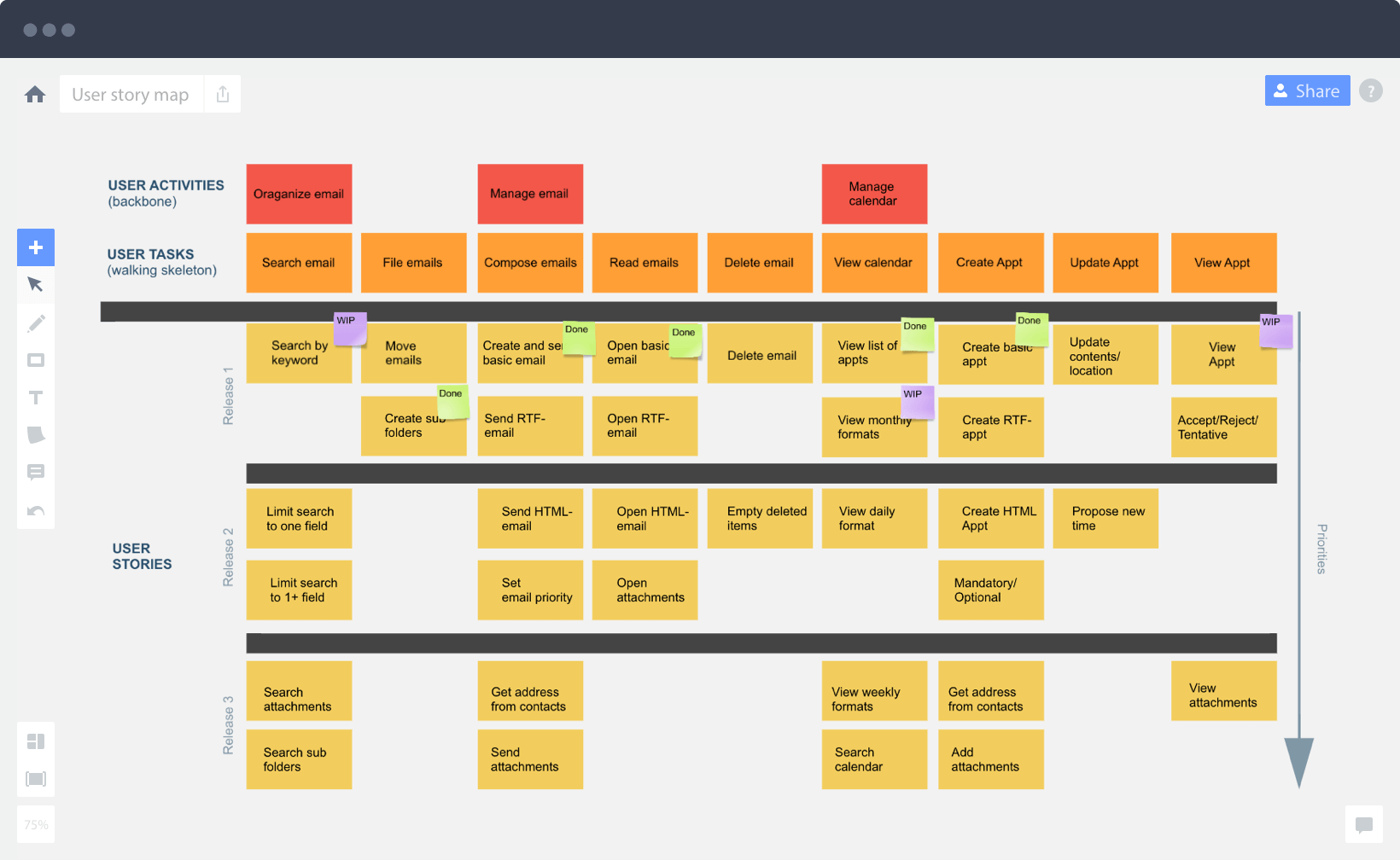 Create user story map online and work together with your team – User Story Template