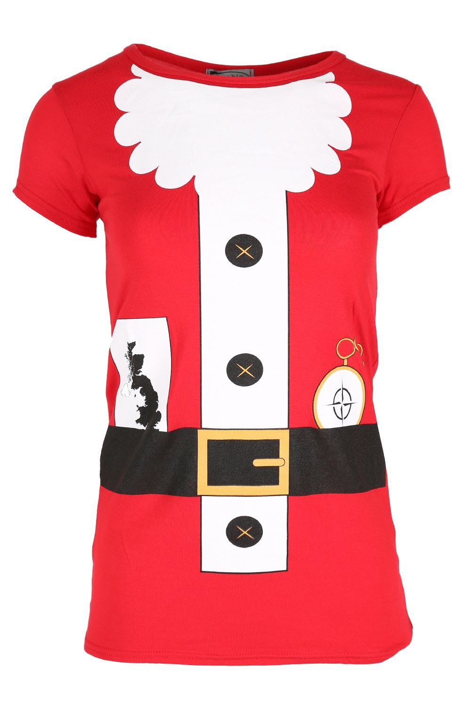Womens Ladies Round Neck Santa Face Christmas Xmas Baggy Batwing Sleeve T Shirt