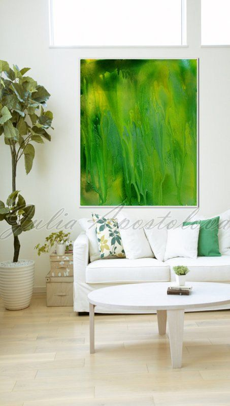 Abstract Room Designs: Green Abstract, Large Print Green Painting, Spring Zen