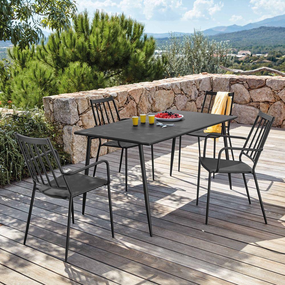 Table de jardin en métal anthracite et 6 personnes | Maisons du ...
